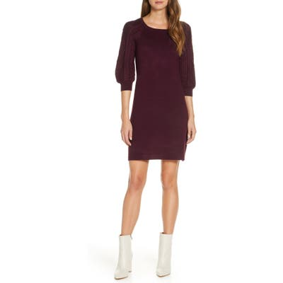 Eliza J Cable Sleeve Sweater Dress, Red