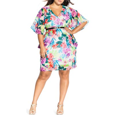 Plus Size City Chic Ivory Blooms Belted Dress, None