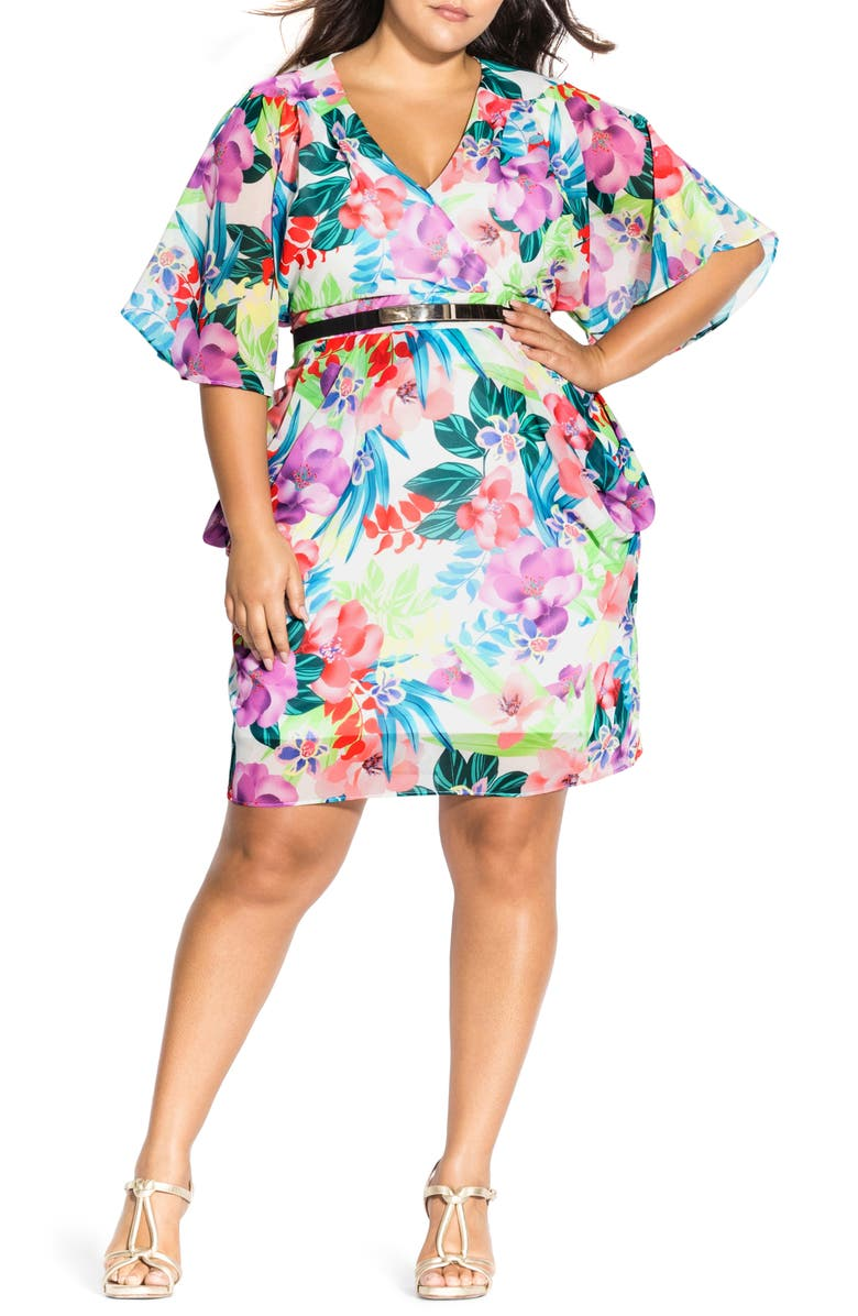 CITY CHIC Ivory Blooms Belted Dress, Main, color, 960
