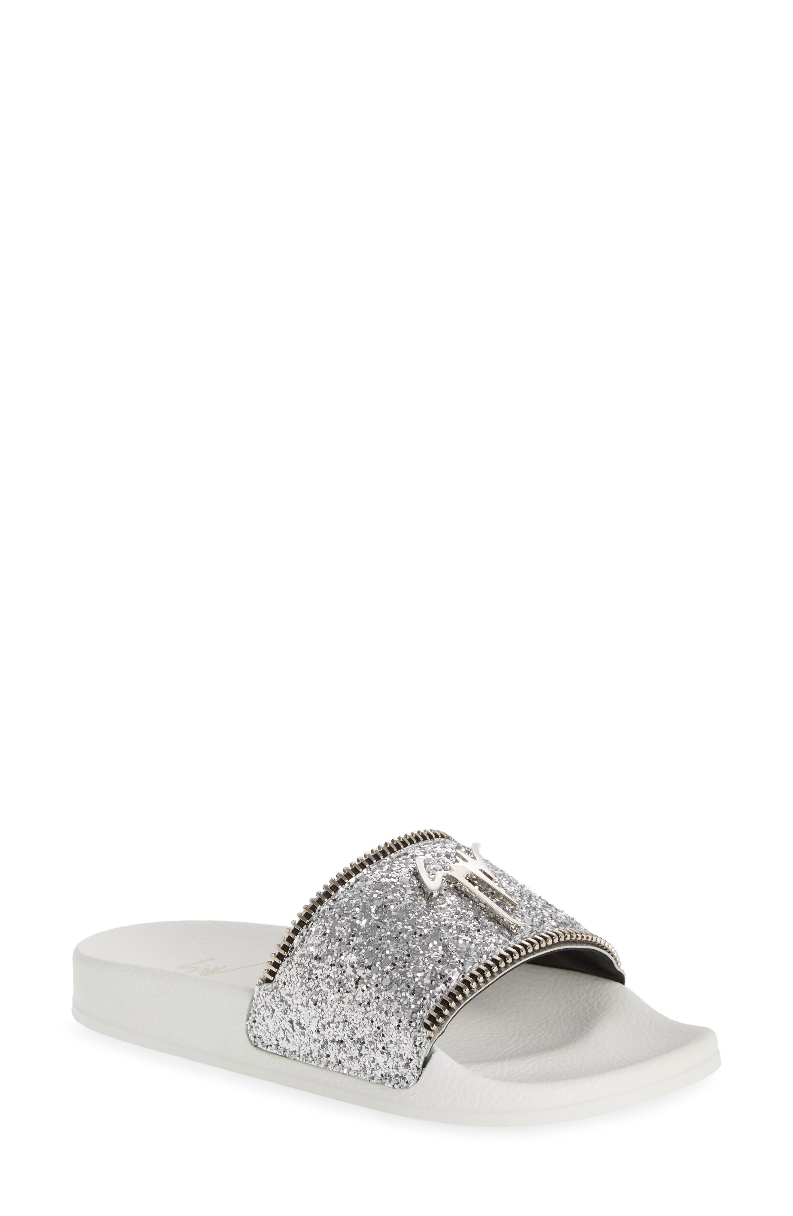 Giuseppe Zanotti Glitter Logo Slide Sandal, Metallic