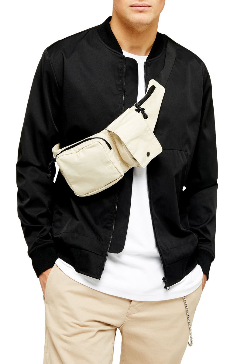 TOPMAN Icon Classic Bomber Jacket, Main, color, BLACK
