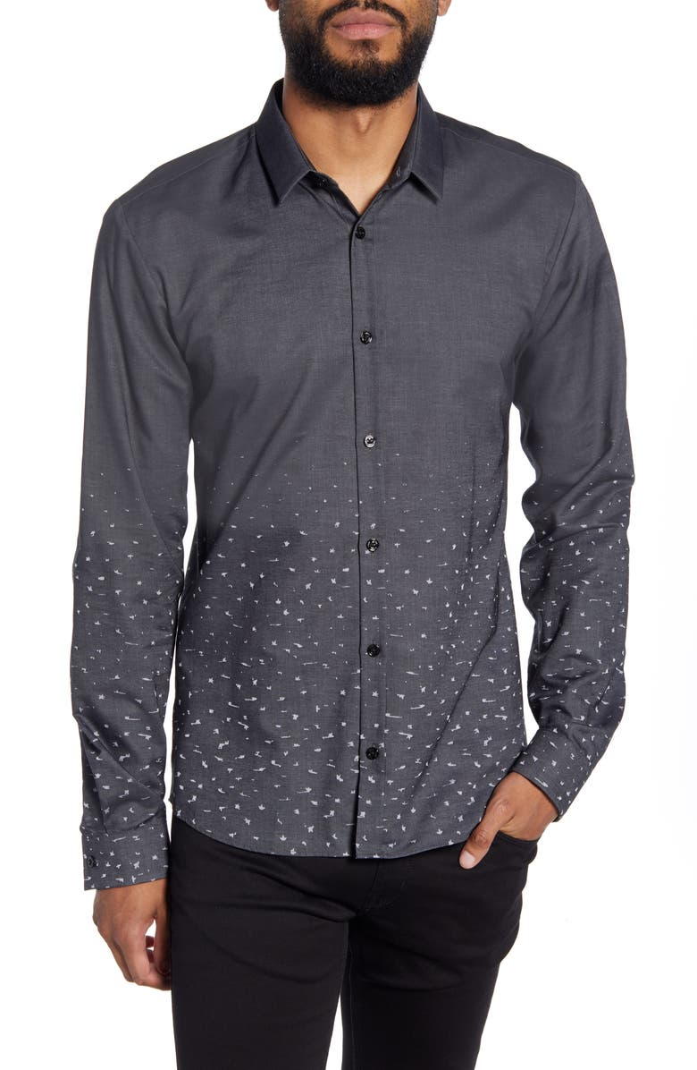 HUGO Ero Slim Fit Button-Up Shirt, Main, color, SILVER