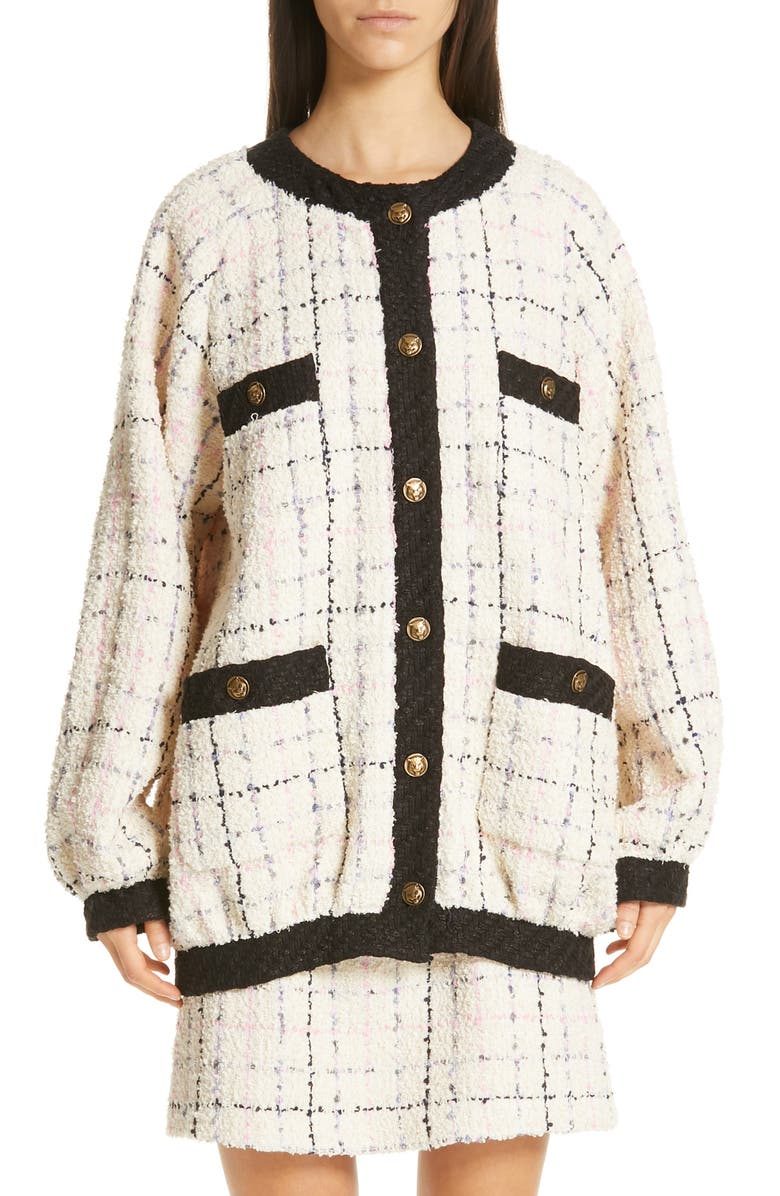 GUCCI Oversize Tweed Bomber Jacket, Main, color, 901