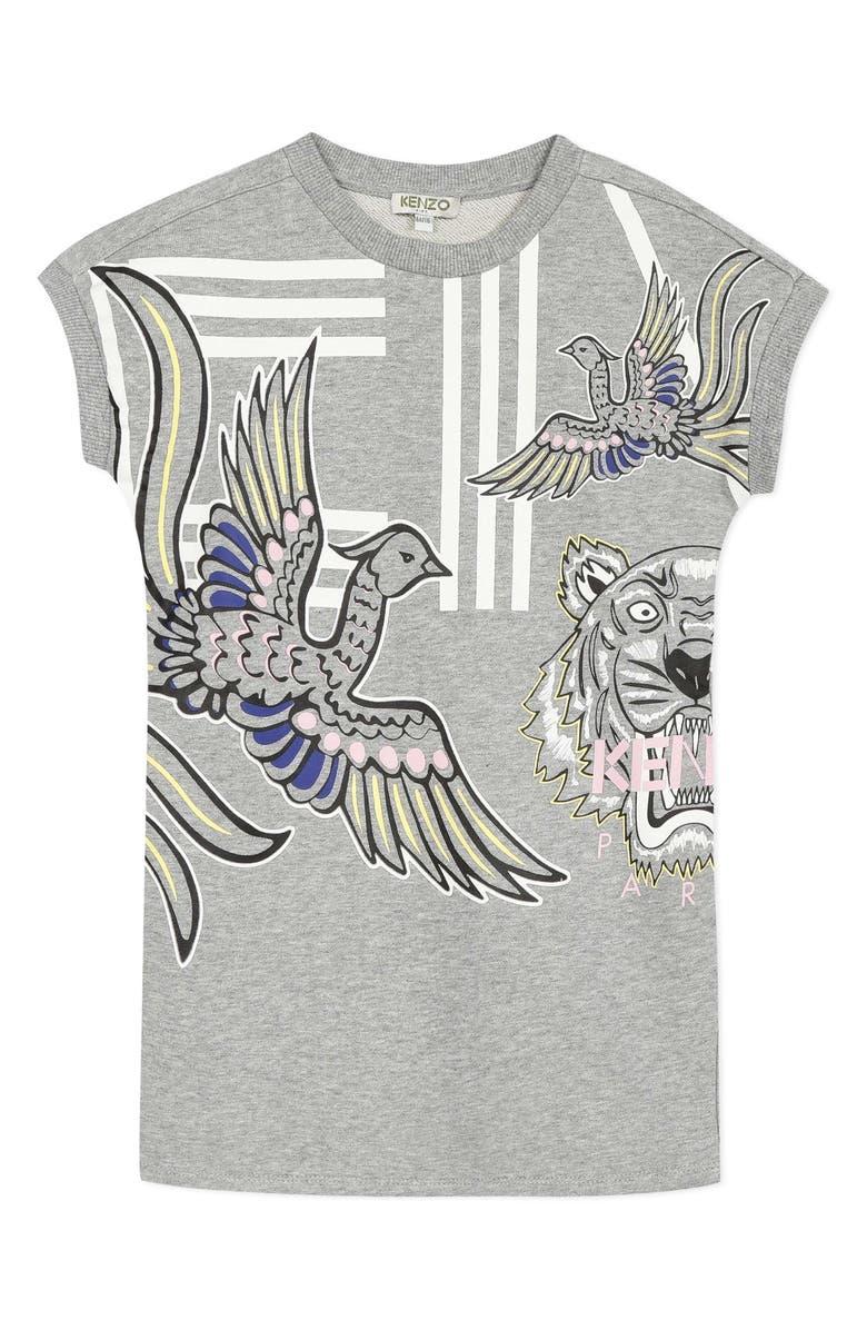 KENZO Multi Iconic T-Shirt Dress, Main, color, MARL GREY