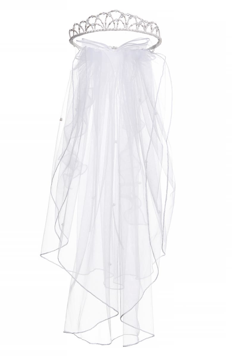 LAUREN MARIE Beaded Crown & Veil, Main, color, 106