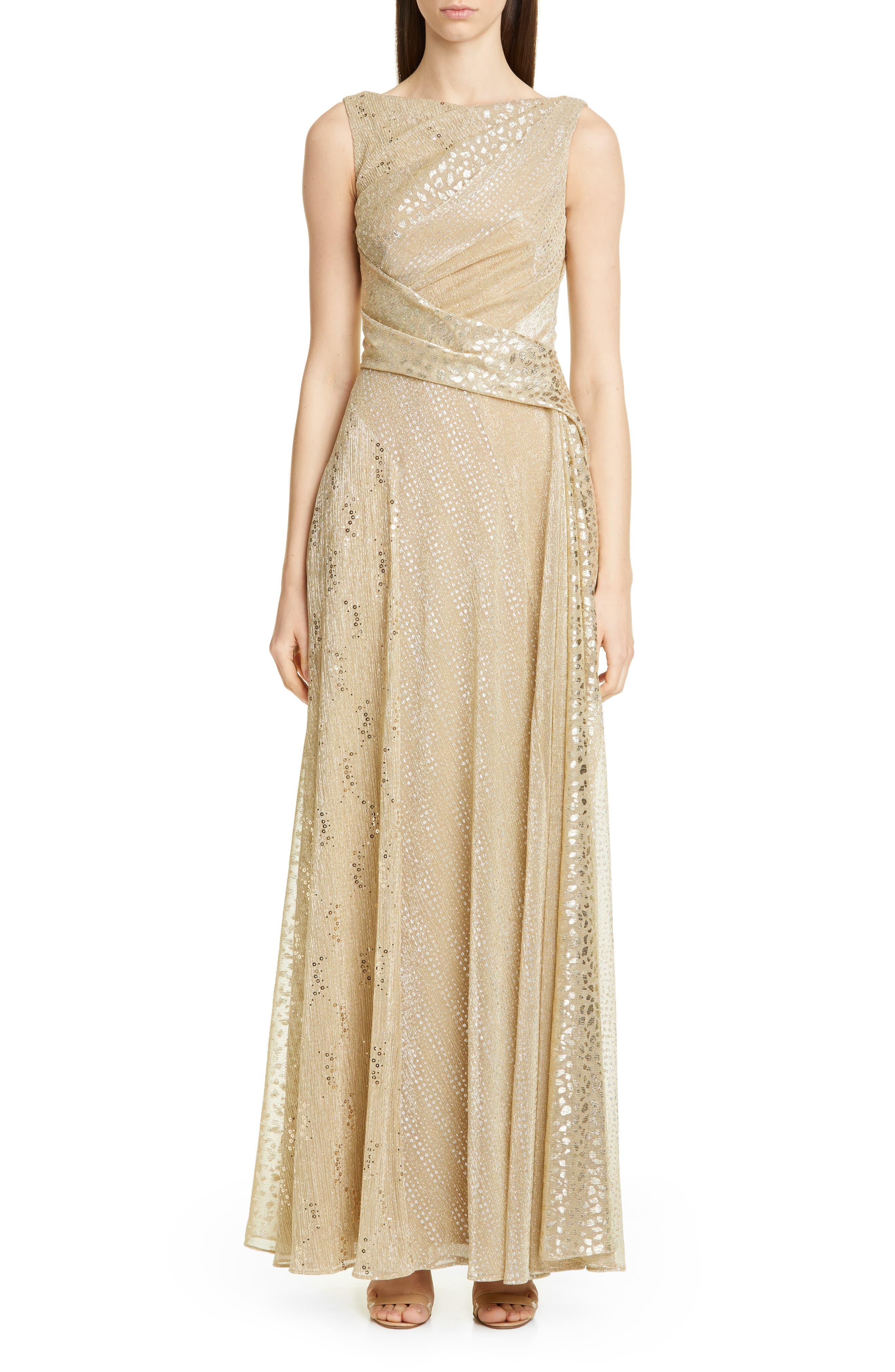 Talbot Runhof Sequin Metallic Voile Gown, Metallic