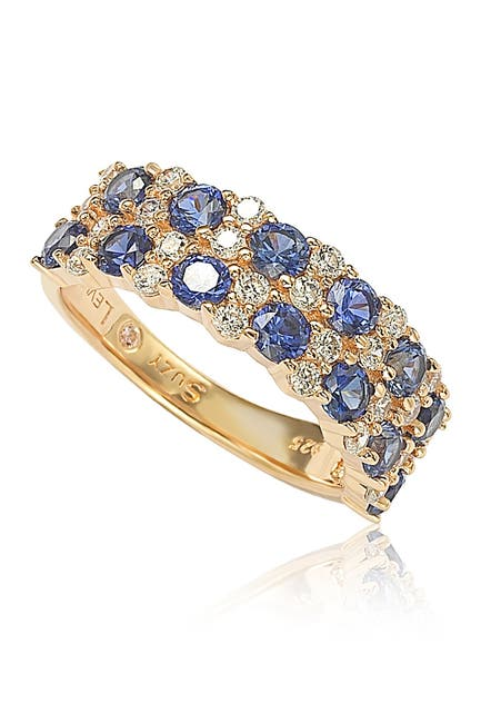 Image of Suzy Levian Rose Sterling Silver Double Row Sapphire Brown Diamond Eternity Ring - 0.02 ctw