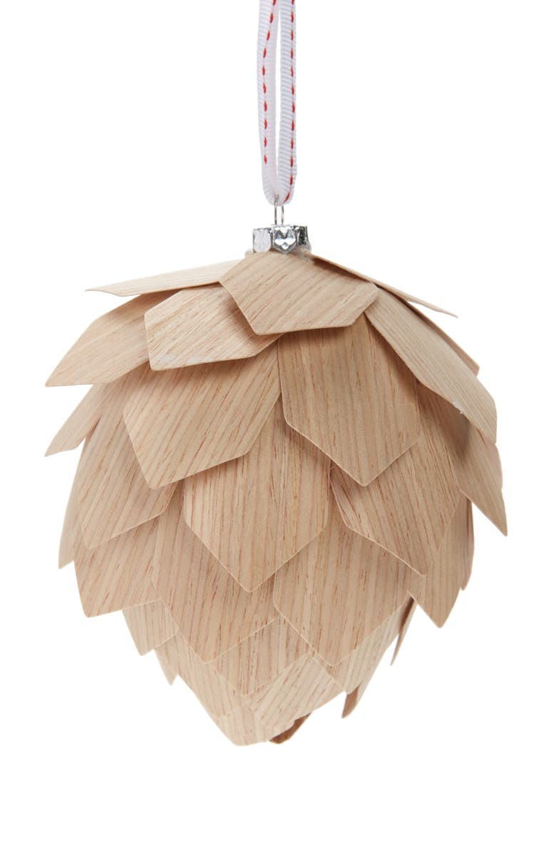 NORDSTROM Small Wooden Pinecone Ornament, Main, color, NATURAL WOOD