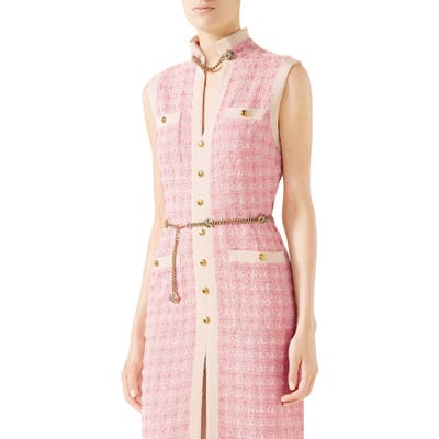 Gucci Chain Embellished Tweed Dress, US / 40 IT - Pink