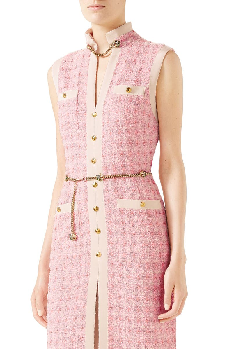 GUCCI Chain Embellished Tweed Dress, Main, color, PINK/ WHITE