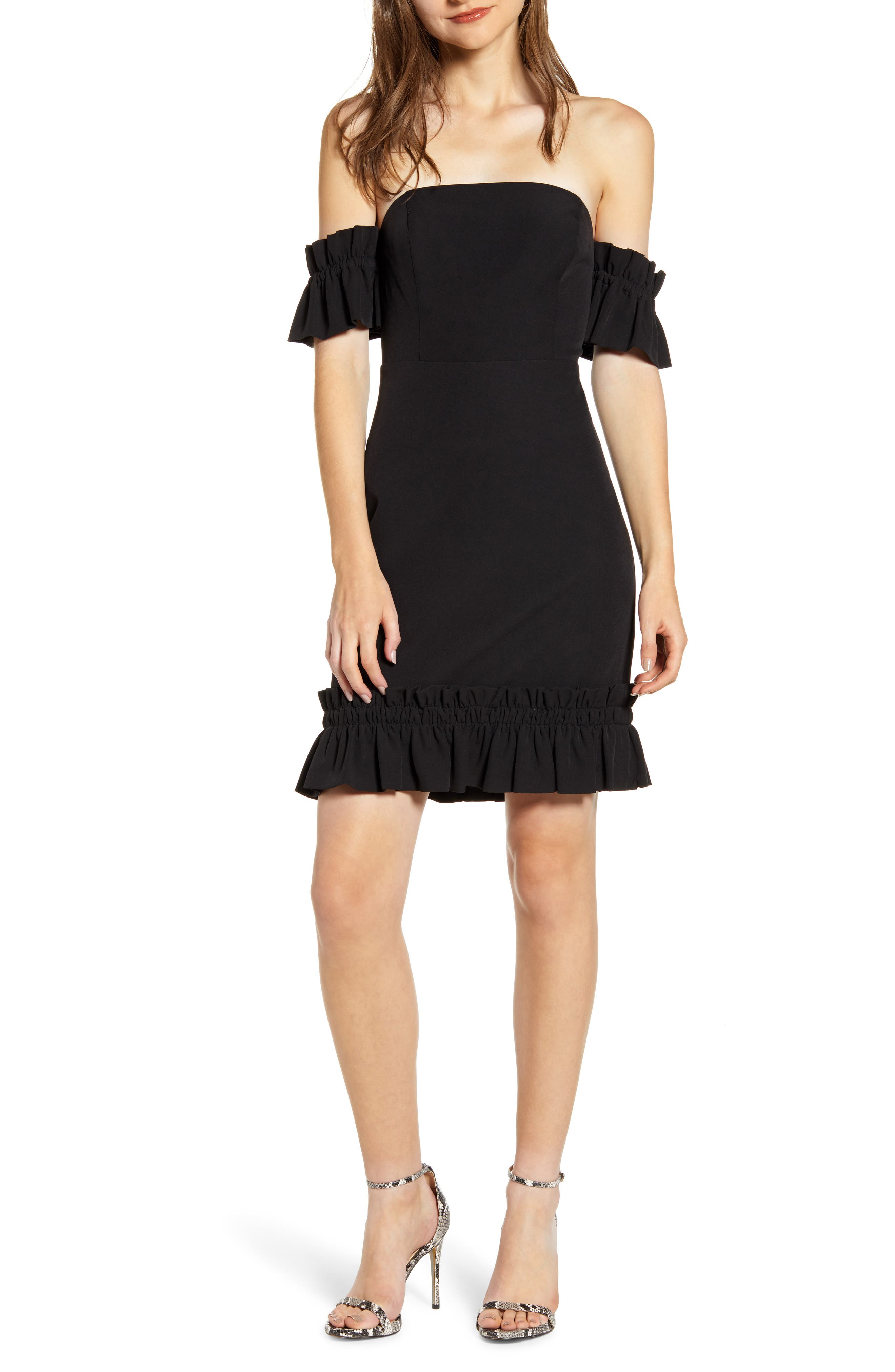 Endless Rose Ruffle Detail Off The Shoulder Body-Con Dress, Black
