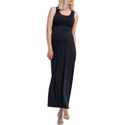 Nom Maternity Hollis Maternity/nursing Maxi Dress, Black
