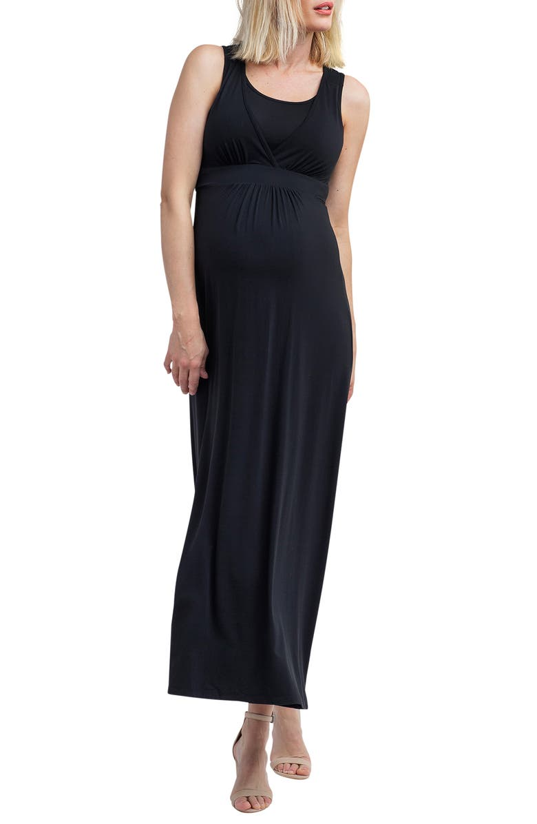 NOM MATERNITY Hollis Maternity/Nursing Maxi Dress, Main, color, BLACK