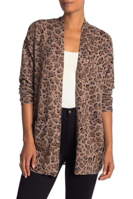 Image of M Magaschoni Leopard Open Front Cashmere Cardigan