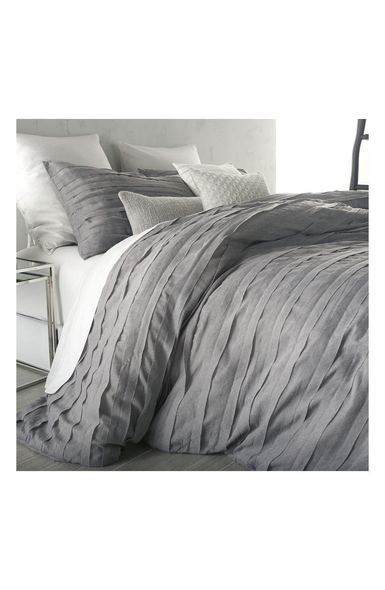 DKNY 'Loft Stripe' Duvet Cover, Main, color, GREY