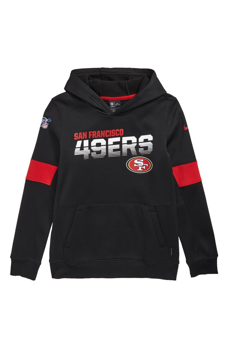 NIKE NFL Logo San Francisco 49ers Therma Dri-FIT Hoodie, Main, color, BLACK
