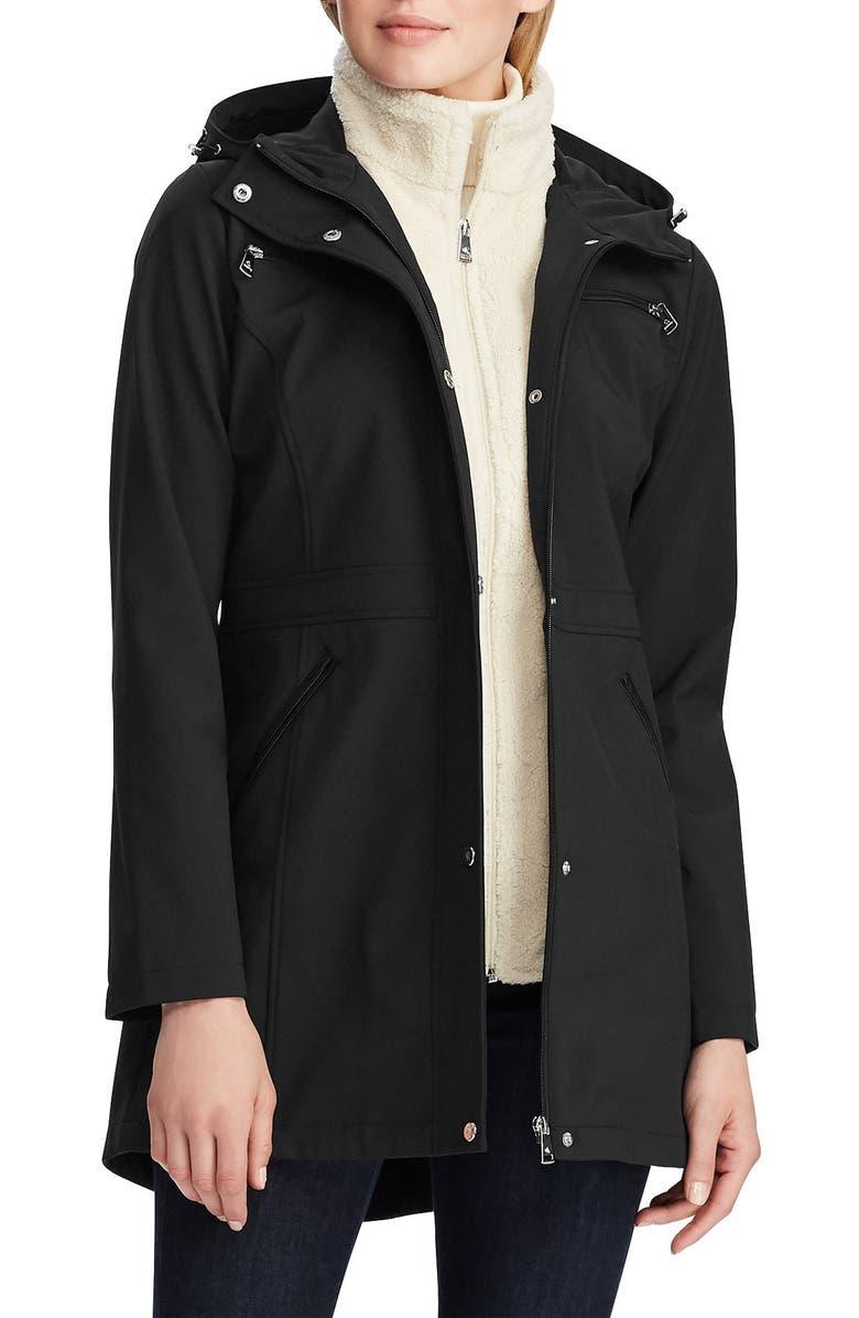 LAUREN RALPH LAUREN Hooded Soft Shell Raincoat, Main, color, BLACK
