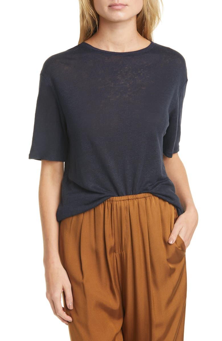 VINCE Boyfriend Slub Linen T-Shirt, Main, color, 403
