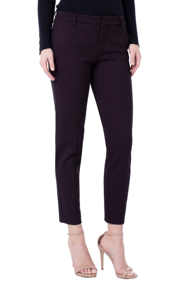 LIVERPOOL Kelsey Check Knit Skinny Pants, Main, color, CRANBERRY/ BLACK