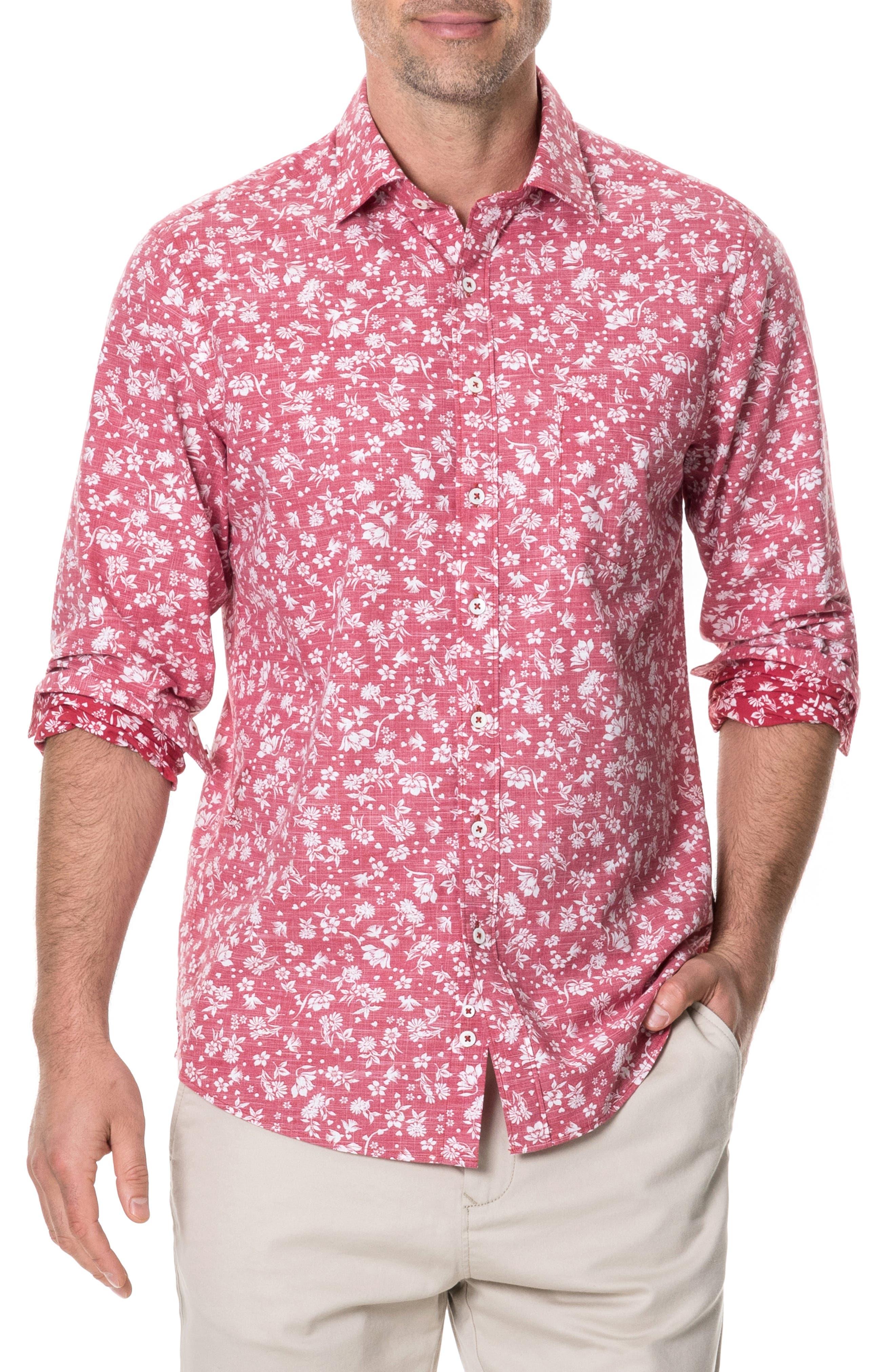 Image of RODD AND GUNN Ramsay Regular Fit Floral Print Cotton Shirt