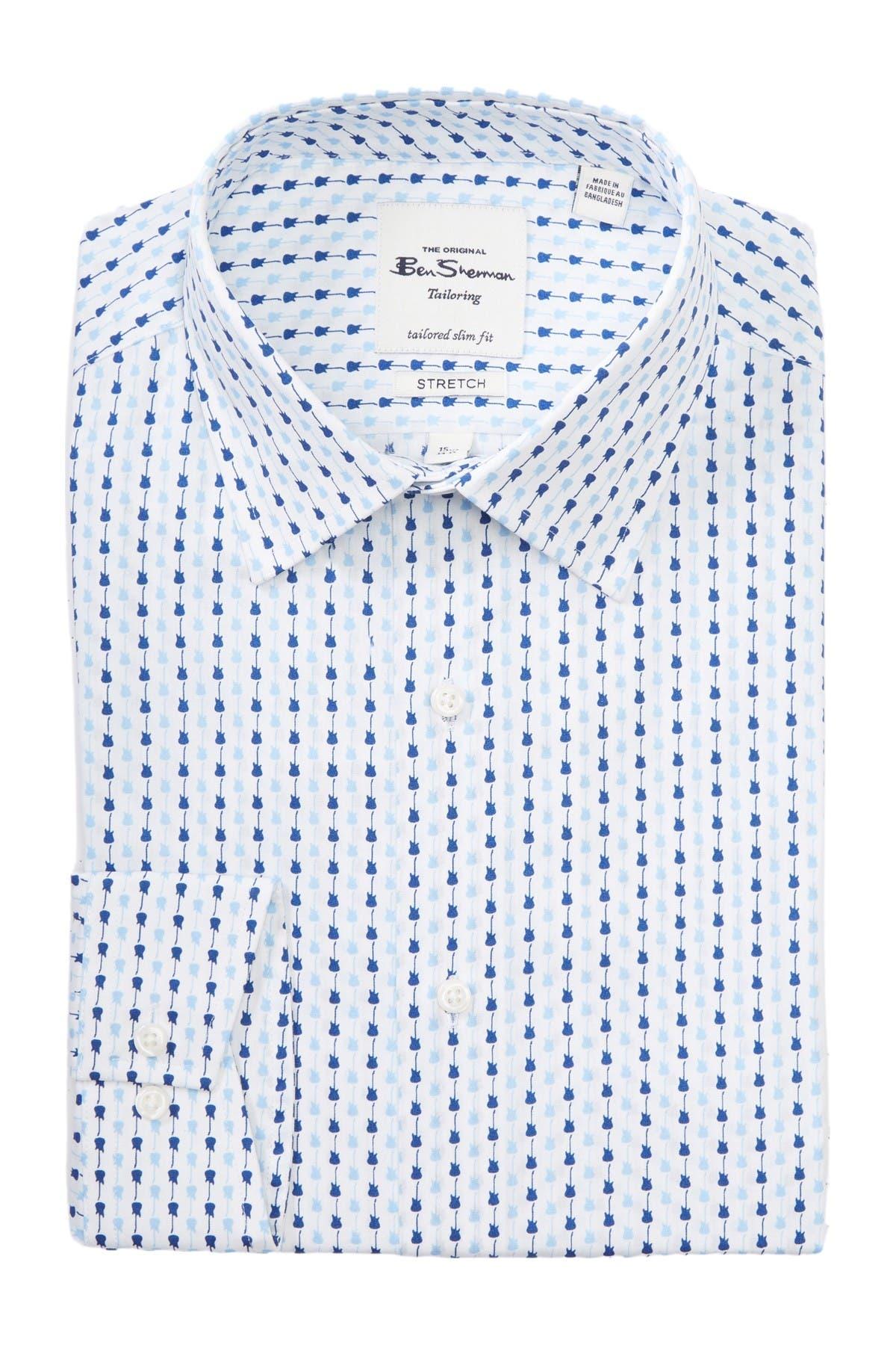 Image of Ben Sherman Guitar Print Tailored Slim Fit Dress Shirt