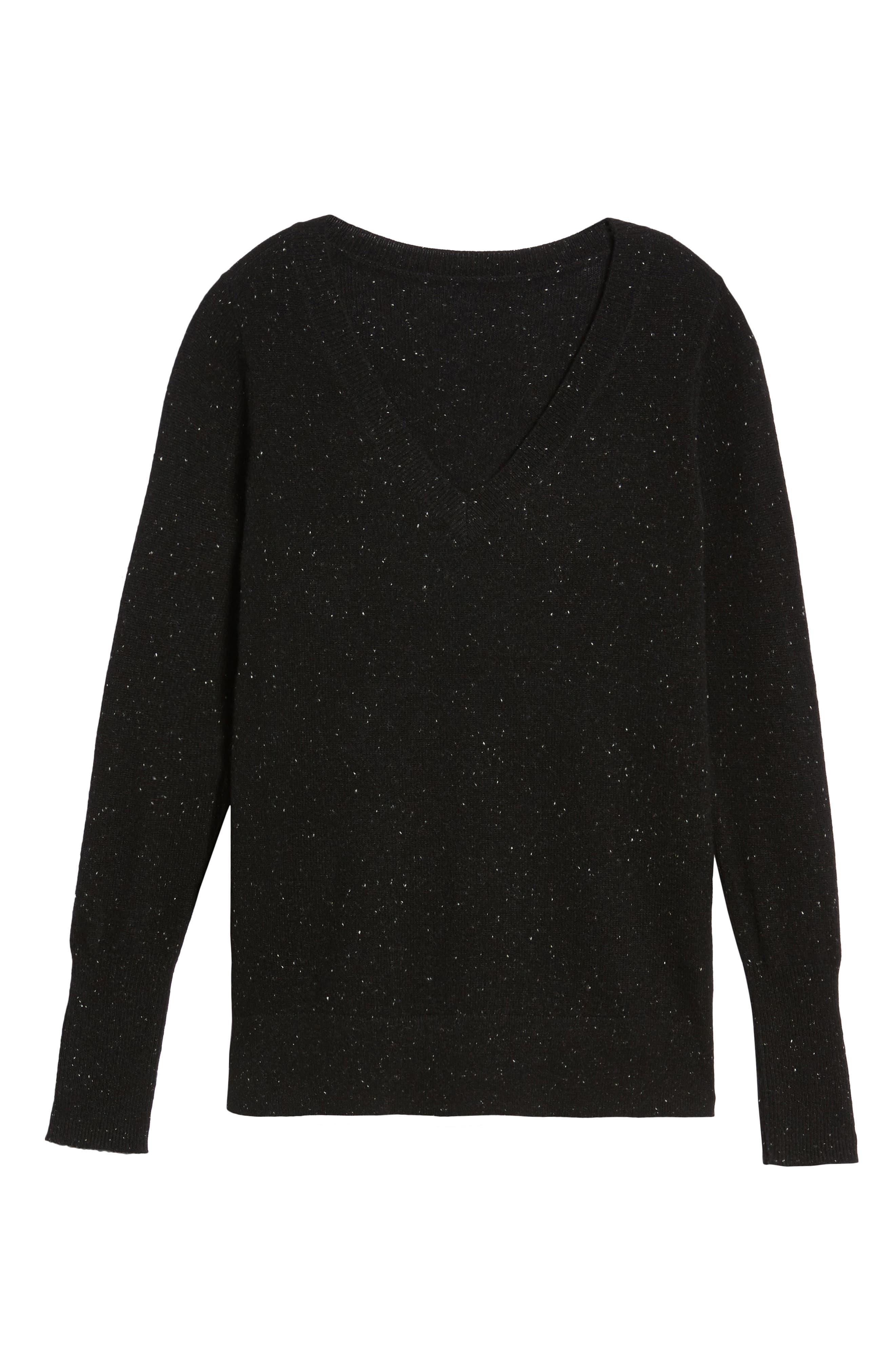 ,                             V-Neck Cashmere Sweater,                             Alternate thumbnail 6, color,                             002