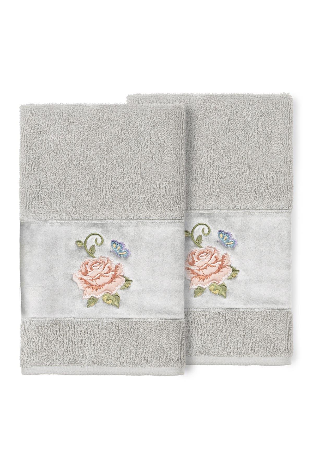 Image of LINUM HOME Light Gray Rebecca Embellished Hand Towel - Set of 2