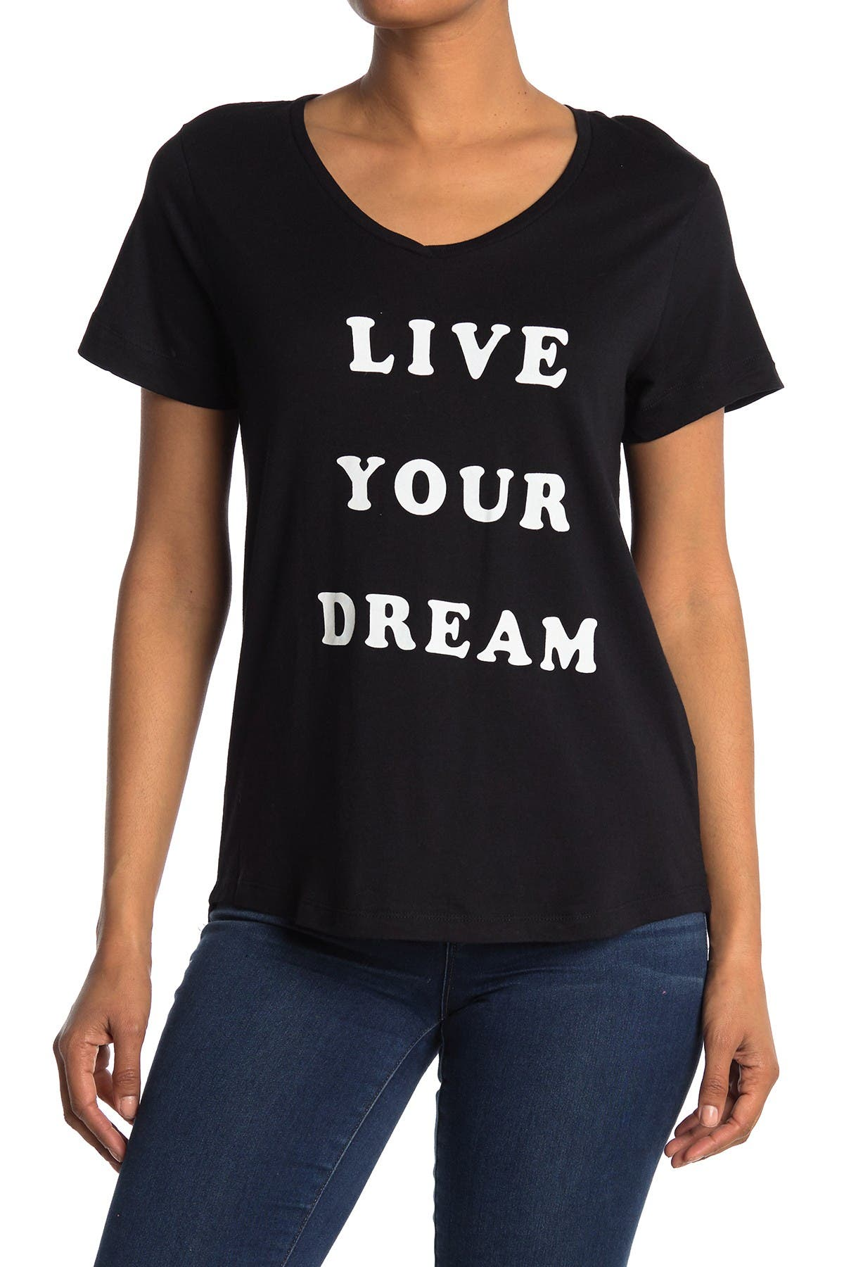Image of FOR THE REPUBLIC V-Neck Short Sleeve Live Your Dream T-Shirt