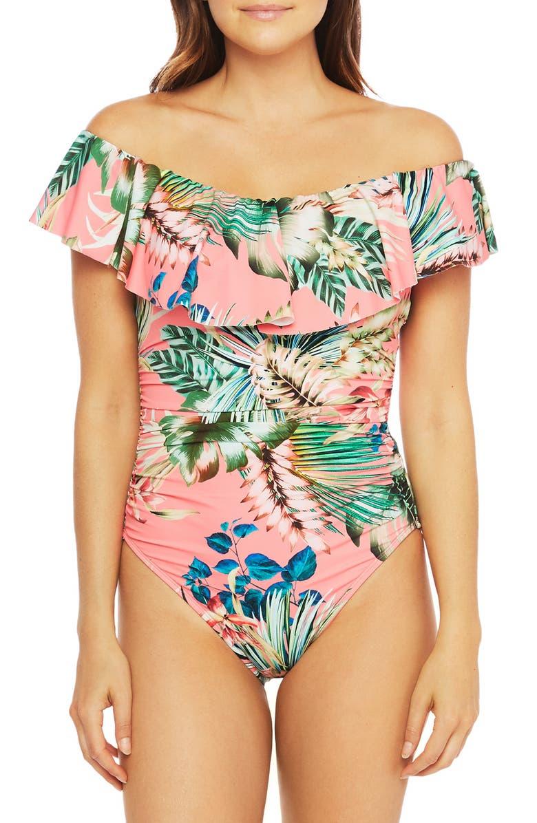 LA BLANCA Tropical Off the Shoulder One-Piece Swimsuit, Main, color, CRL