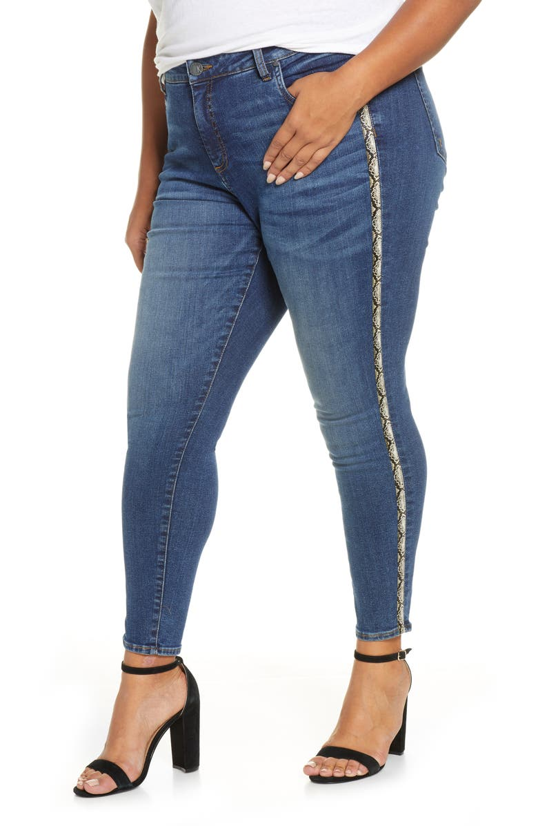 KUT FROM THE KLOTH Donna Snake Print Side Stripe Ankle Skinny Jeans, Main, color, 405