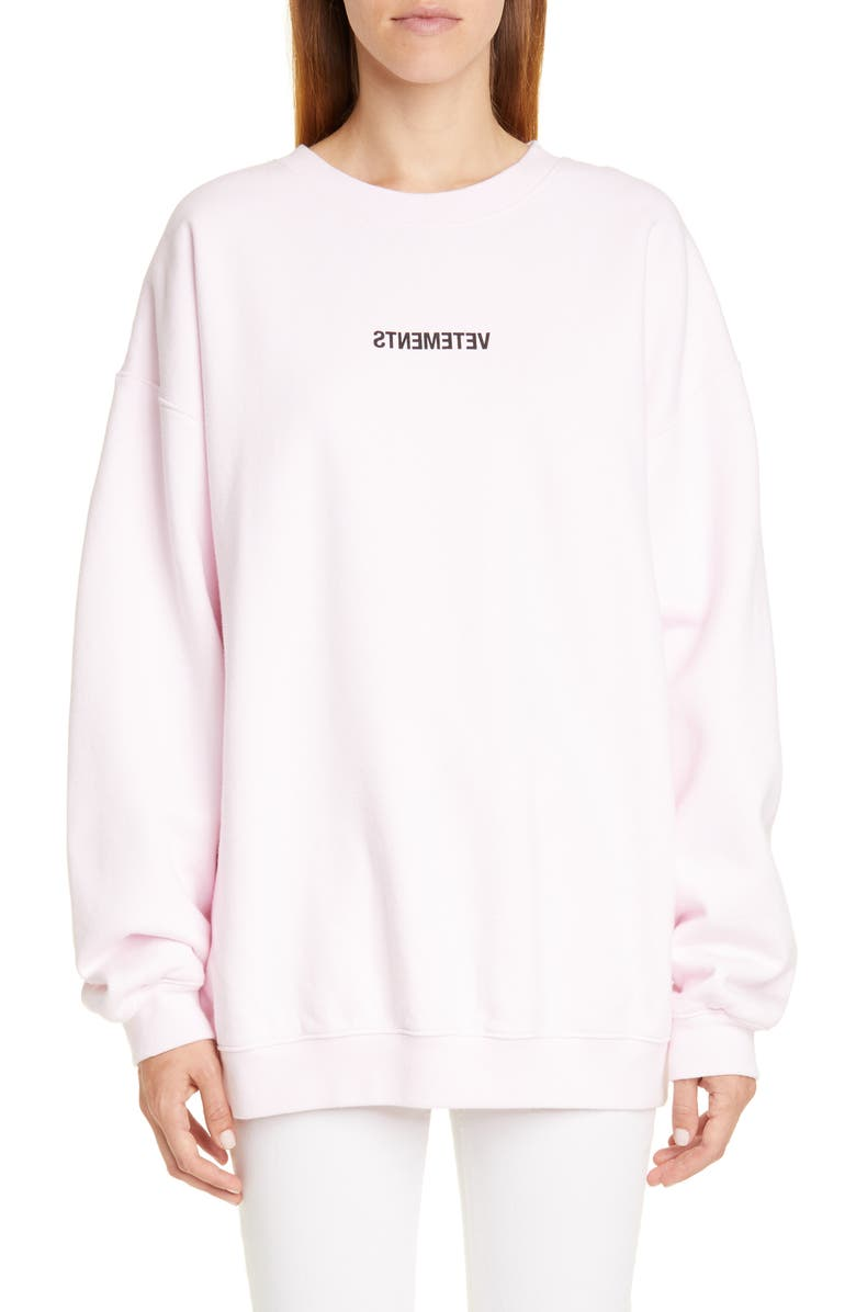 VETEMENTS Inverted Logo Sweatshirt, Main, color, LIGHT PINK