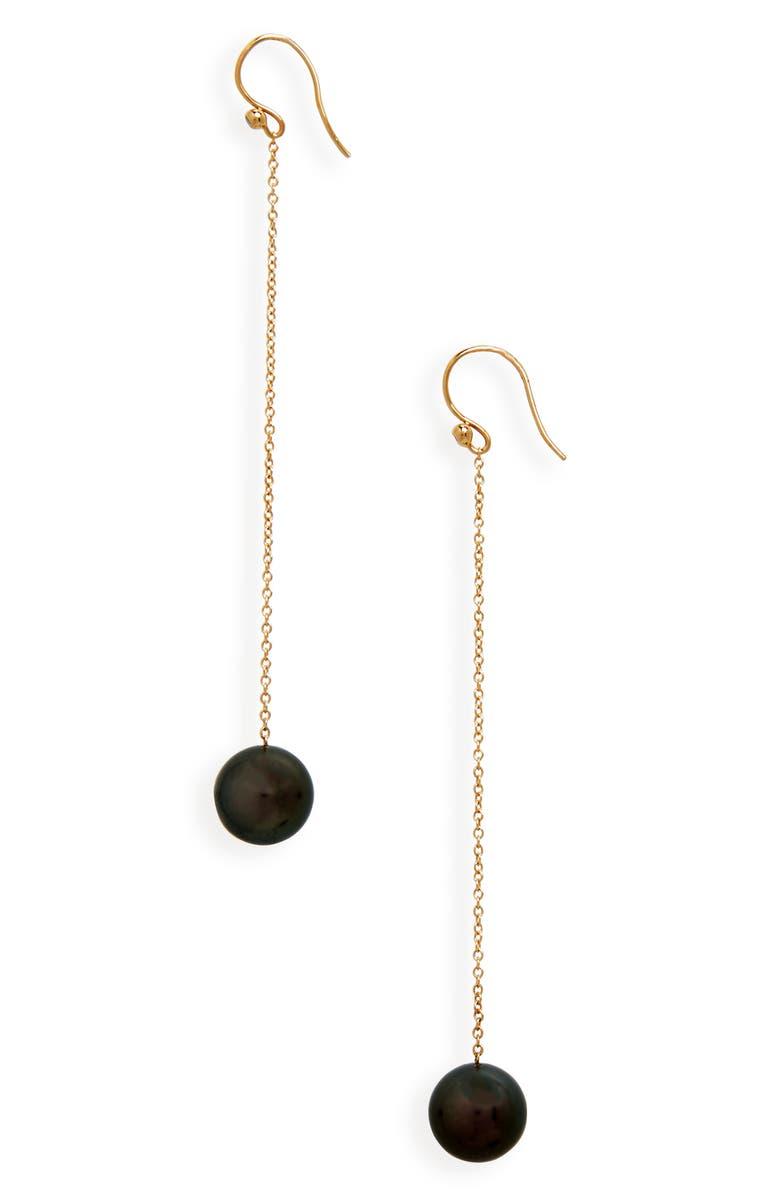 MIZUKI Tahitian Pearl Chain Drop Earrings, Main, color, 710