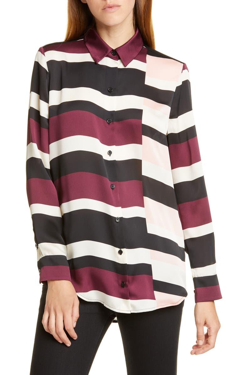 EQUIPMENT Essential Stripe Blouse, Main, color, TRUE BLACK MULTI
