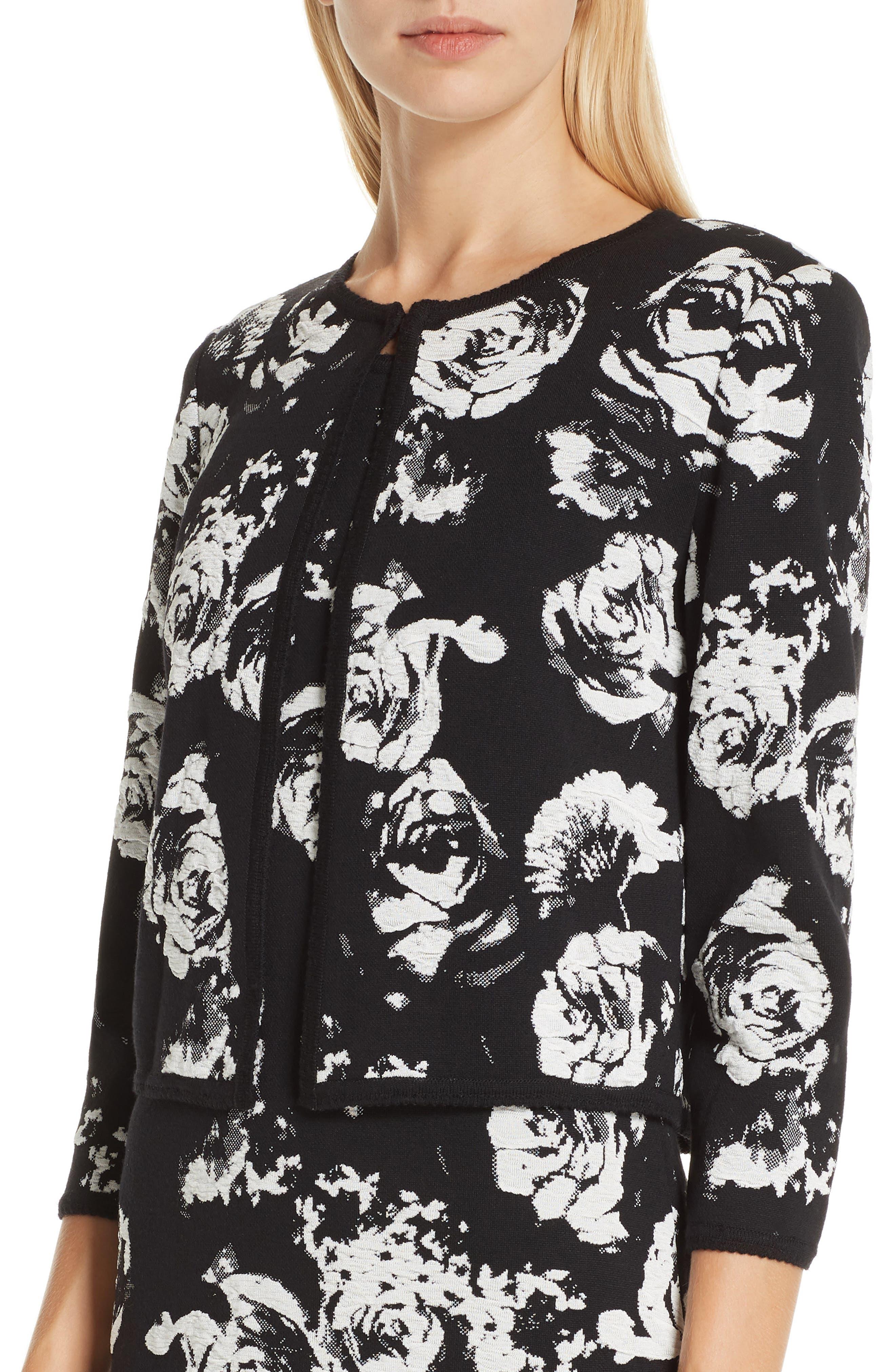 ,                             Floral Blister Knit Cardigan,                             Alternate thumbnail 5, color,                             CAVIAR/ CREAM