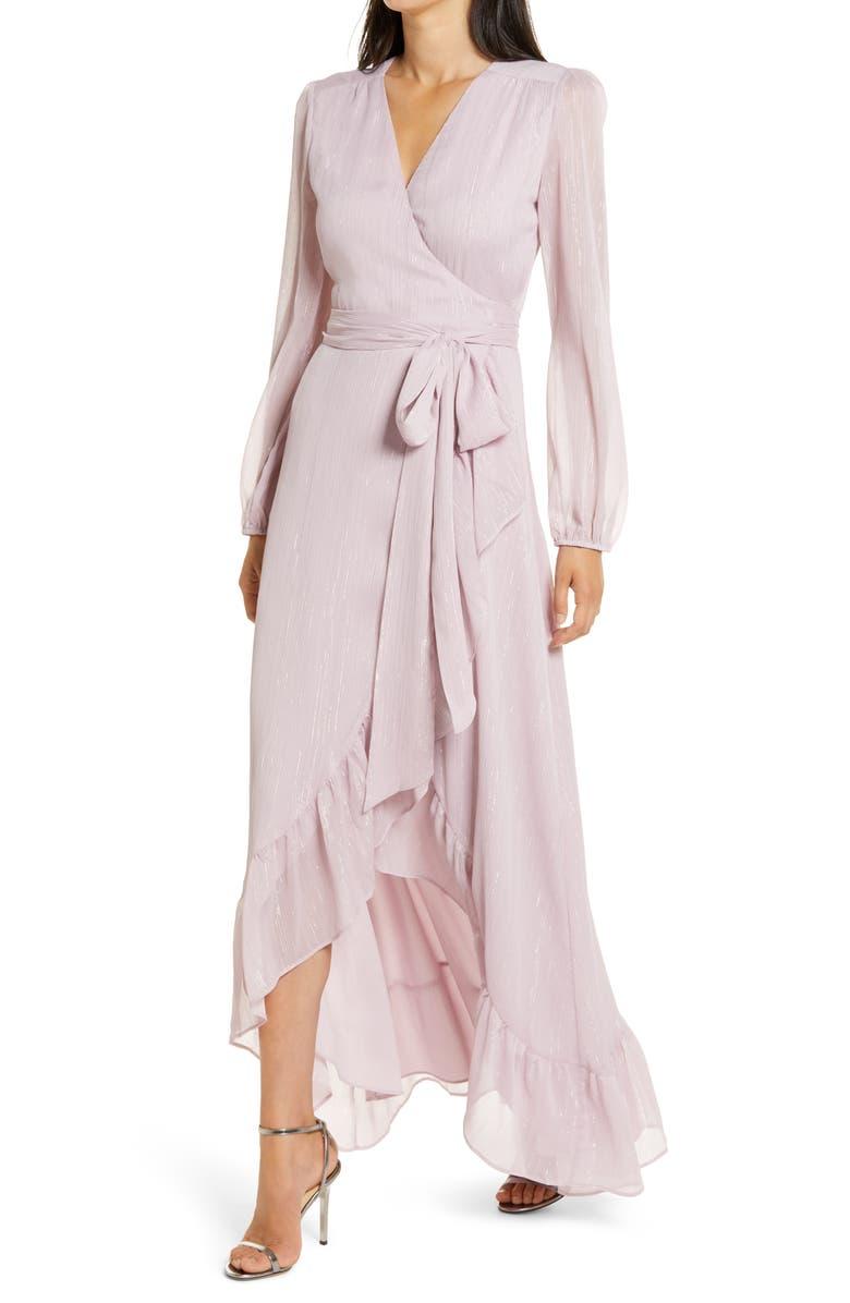 WAYF The Meryl Long Sleeve Metallic Chiffon Wrap Gown, Main, color, LILAC