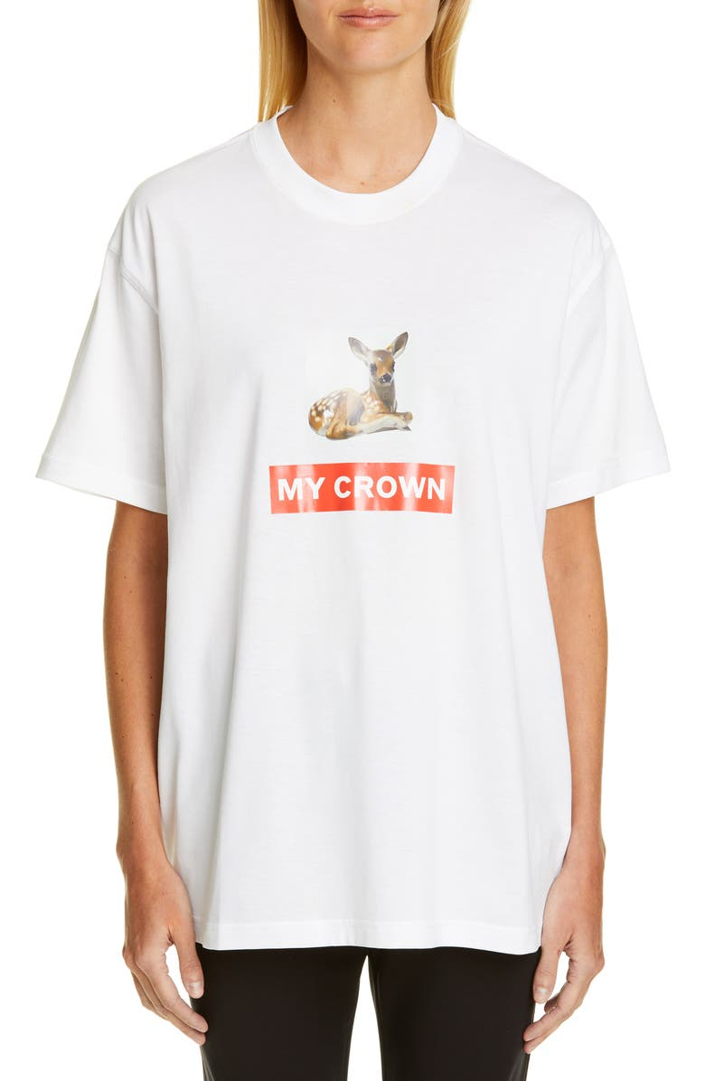 BURBERRY Carrick Deer Graphic Tee, Main, color, WHITE