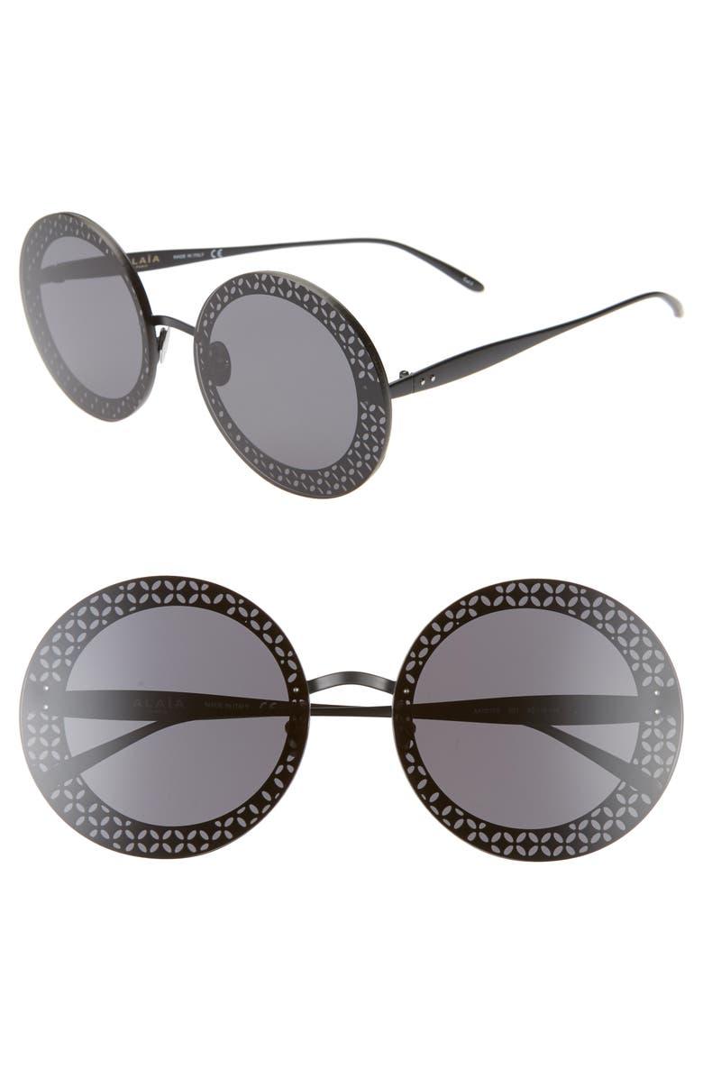 ALAÏA 63mm Round Sunglasses, Main, color, BLACK