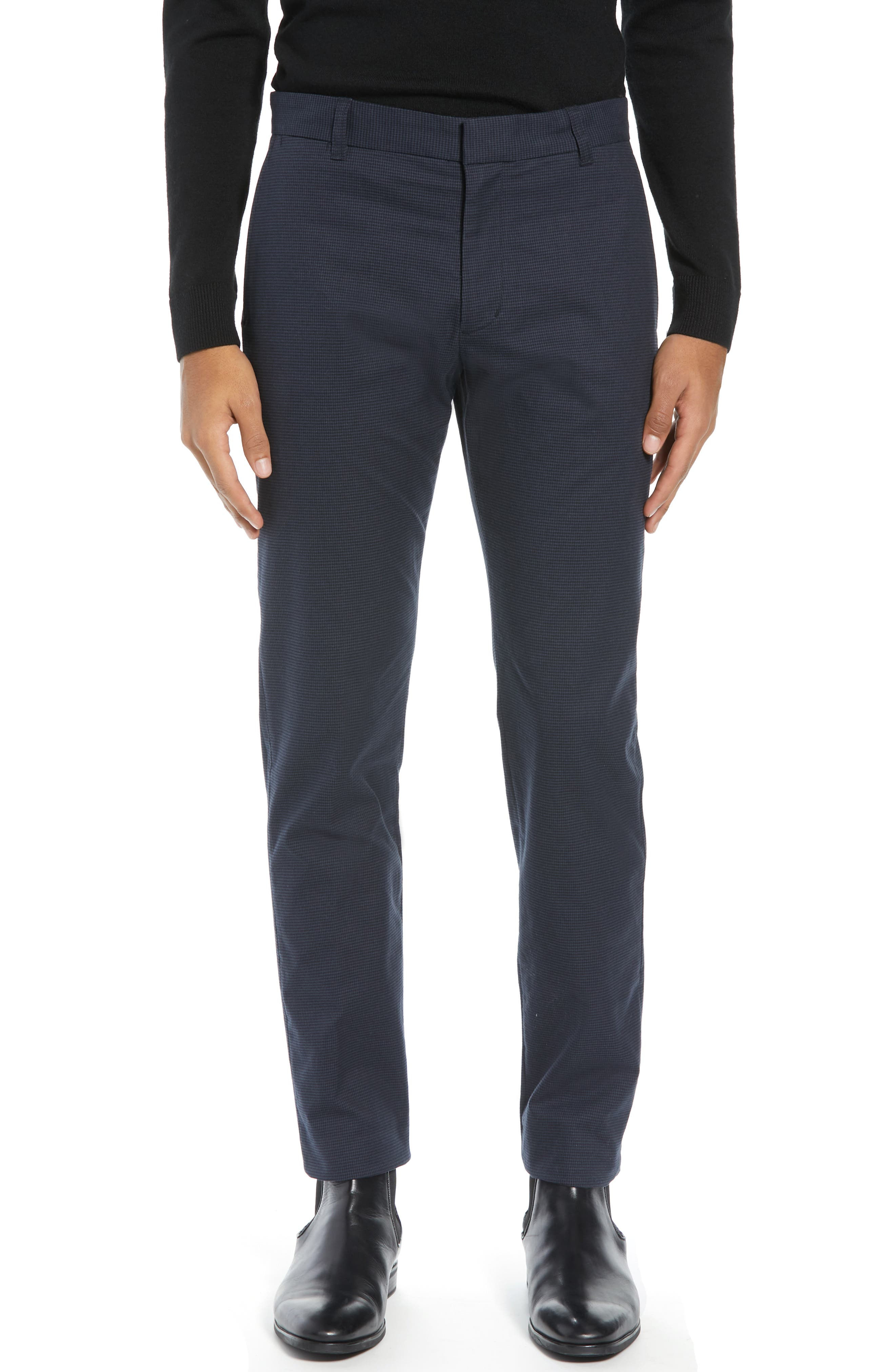 Image of Vince Griffith Slim Fit Microcheck Stretch Cotton Chino Pants