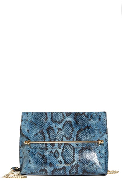 Strathberry Stylist Mini Snake Embossed Leather Crossbody Bag In Illusion Blue