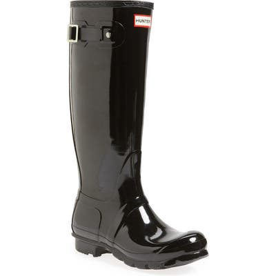 Hunter Original High Gloss Waterproof Boot, Black