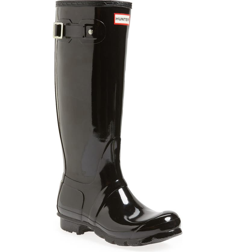 HUNTER Original High Gloss Waterproof Boot, Main, color, BLACK GLOSS