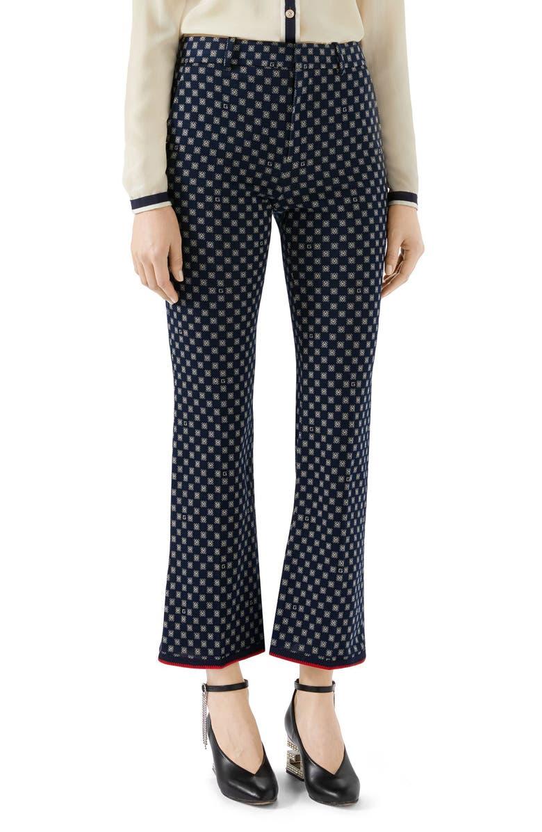 GUCCI G-Frames Jersey Bootcut Pants, Main, color, 412