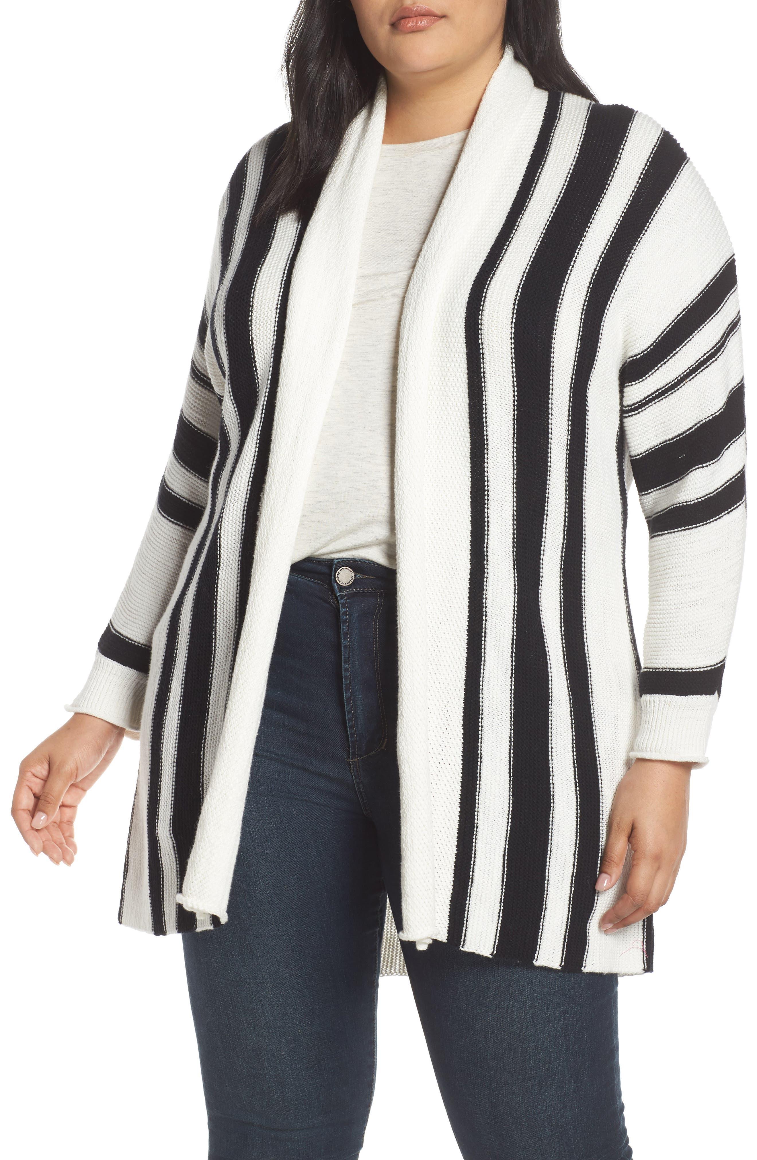 ,                             Stripe Open Front Cardigan,                             Main thumbnail 7, color,                             900
