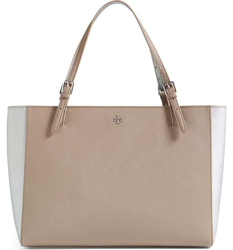TORY BURCH 'York' Colorblock Buckle Tote, Main, color, 020