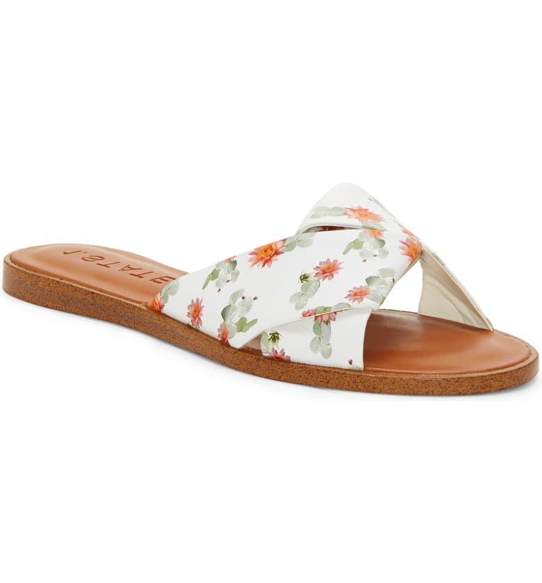 1.STATE Travor Slide Sandal, Main, color, WHITE PRINT LEATHER