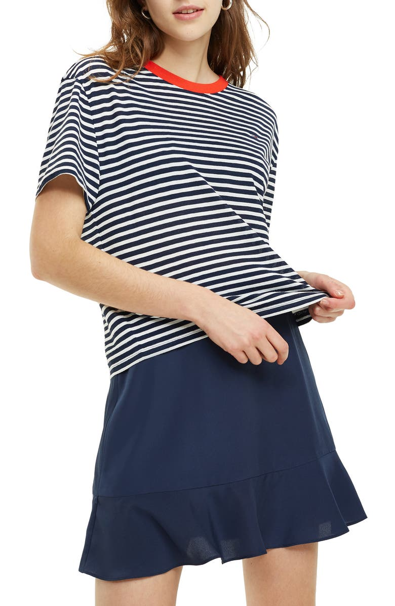 TOMMY JEANS TJW Stripe Tee, Main, color, BLACK IRIS/ WHITE