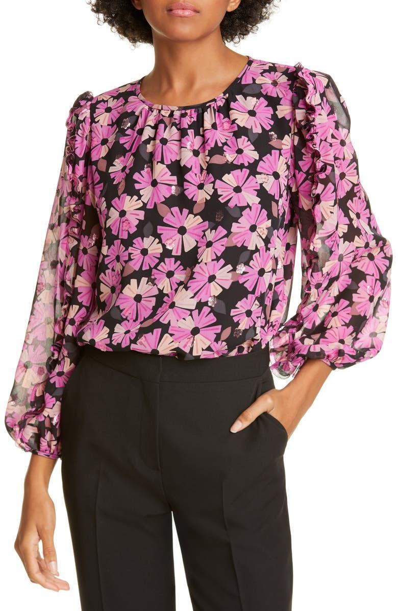 KATE SPADE NEW YORK wallflower metallic detail silk blouse, Main, color, BLACK