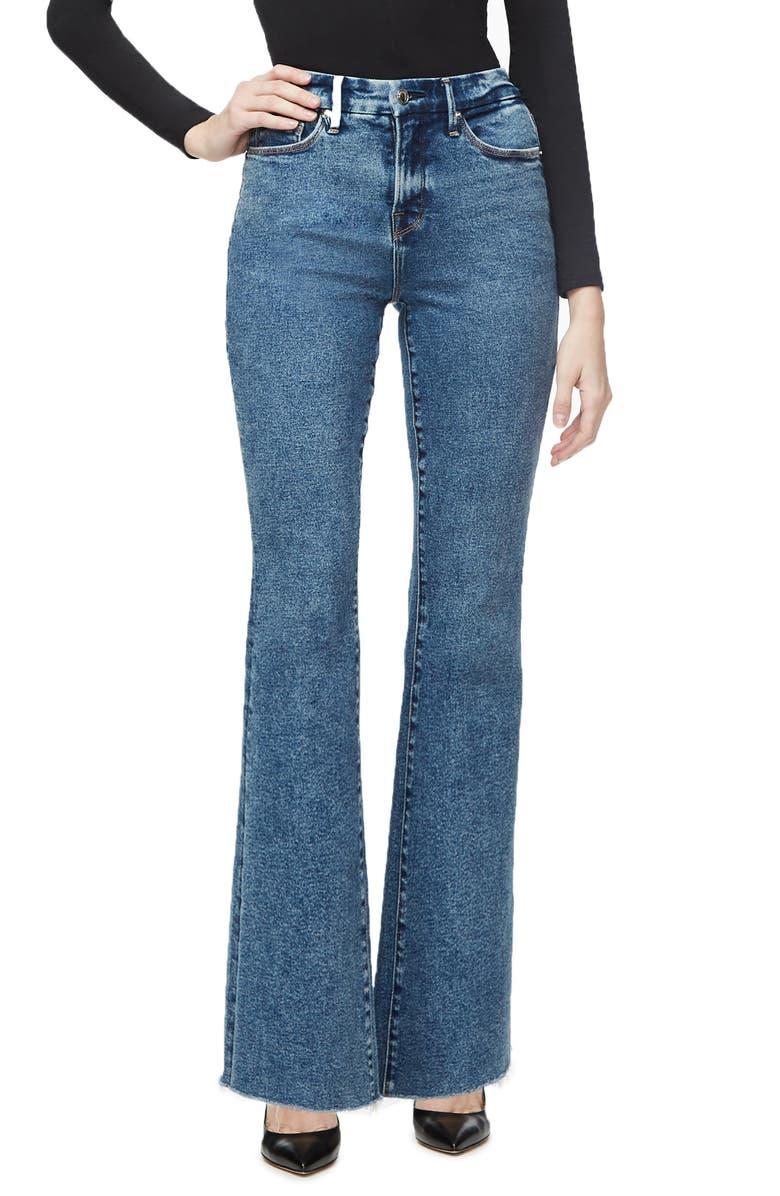 GOOD AMERICAN Good Flare Fray Hem Jeans, Main, color, BLUE294