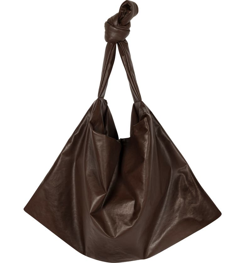 KASSL Small Square Oiled Canvas Bag, Main, color, DARK BROWN