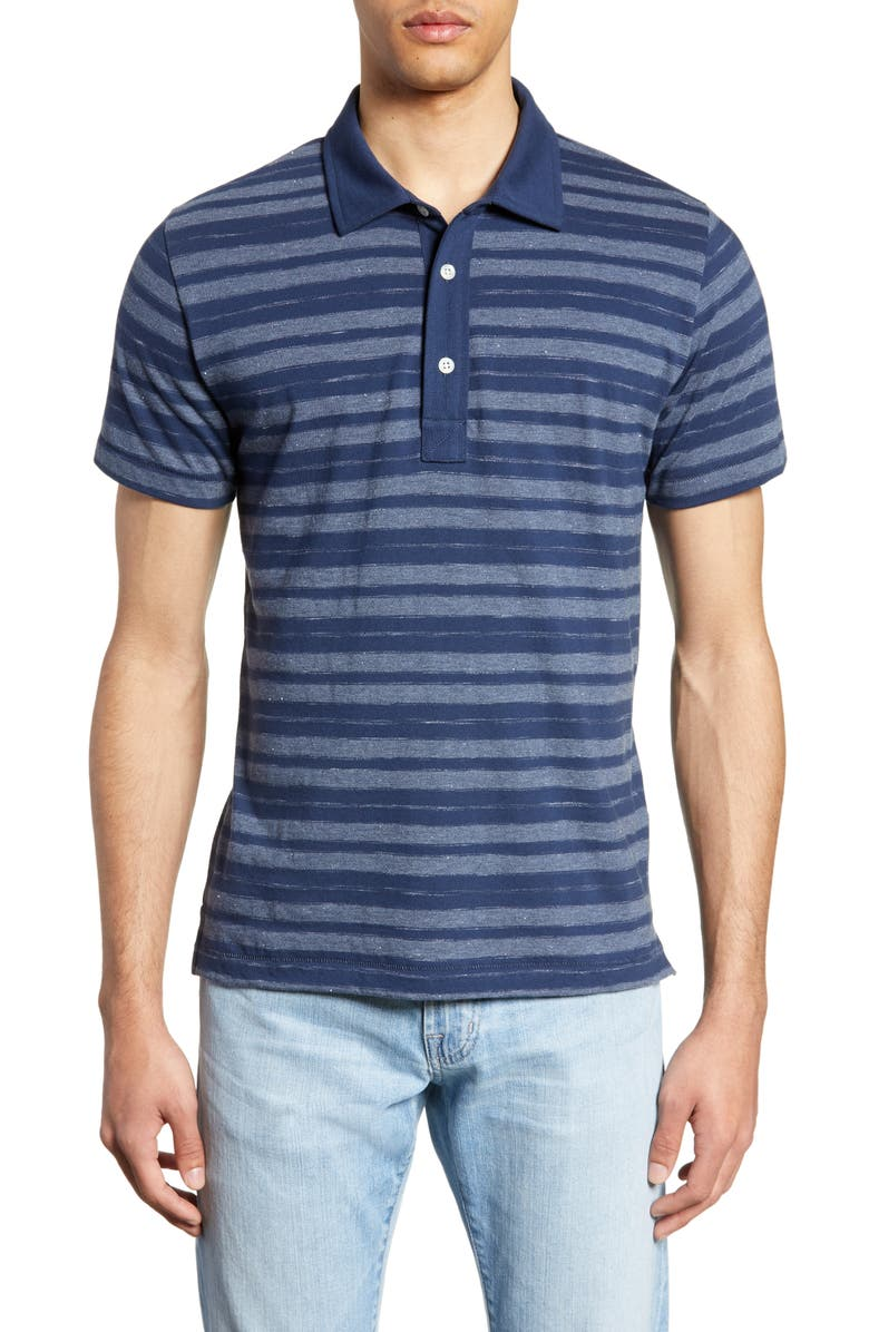 BILLY REID Textured Stripe Regular Fit Polo, Main, color, 405